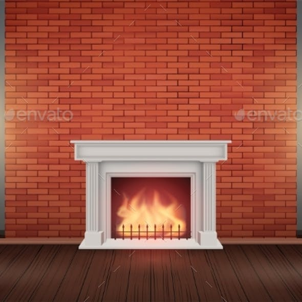 Red Brick Wall Room with Fireplace