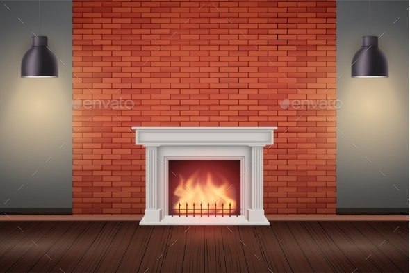 Red Brick Wall Room with Fireplace - Man-made Objects Objects
