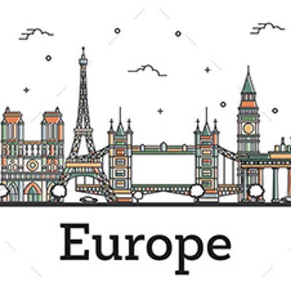 Outline Color Famous Landmarks in Europe