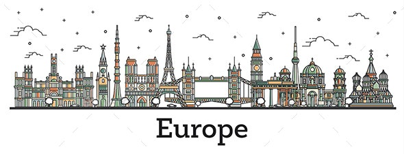 Outline Color Famous Landmarks in Europe - Buildings Objects