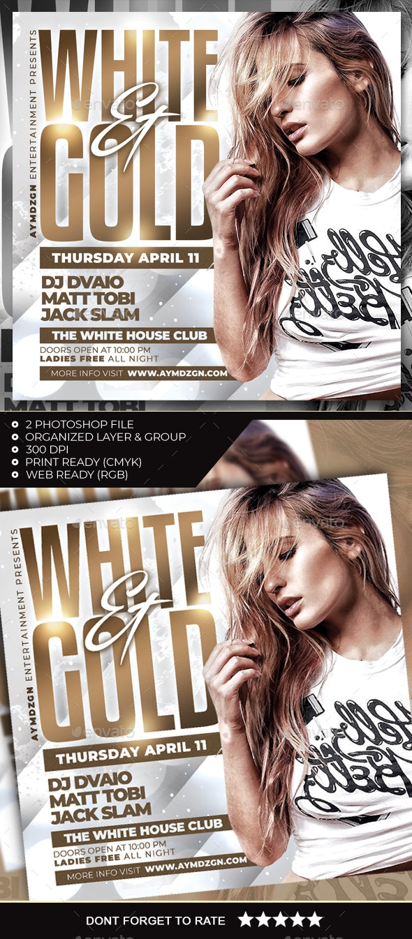 White and Gold Flyer - Clubs & Parties Events