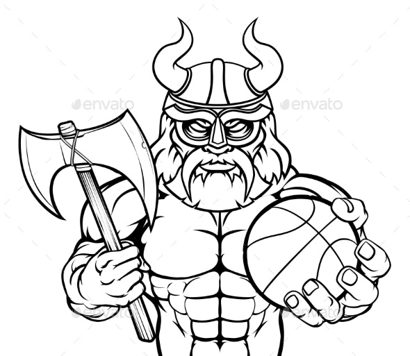 Viking Basketball Sports Mascot - Sports/Activity Conceptual