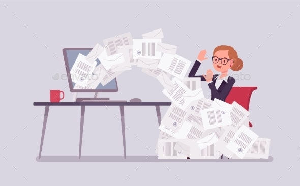 Paper Avalanche for Businesswoman - Concepts Business