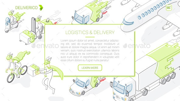 Delivery and Logistics - Line Isometric Illustrations Pack - Services Commercial / Shopping