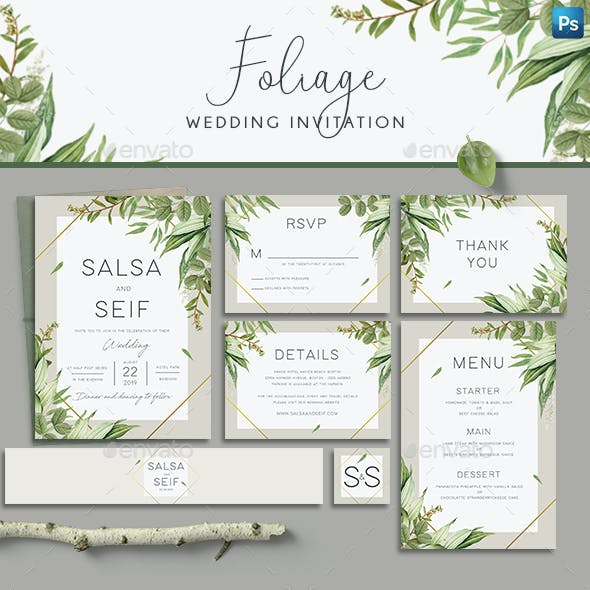 Geometric Foliage Wedding Invitation