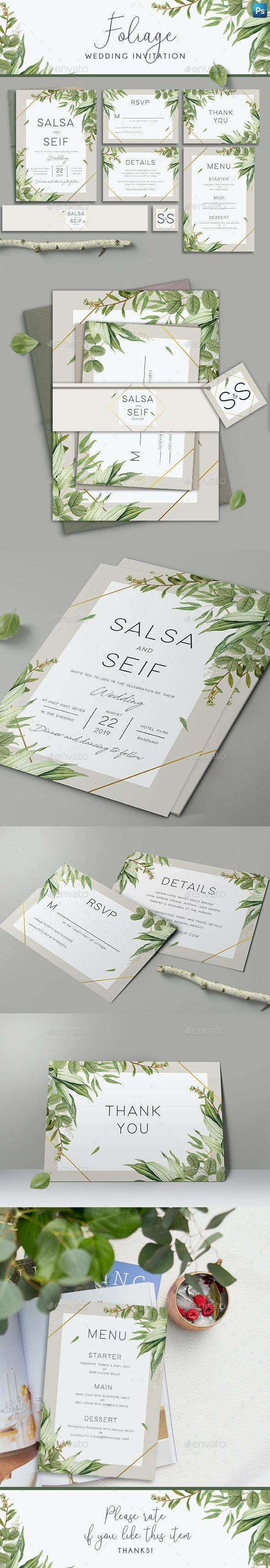 Geometric Foliage Wedding Invitation - Wedding Greeting Cards