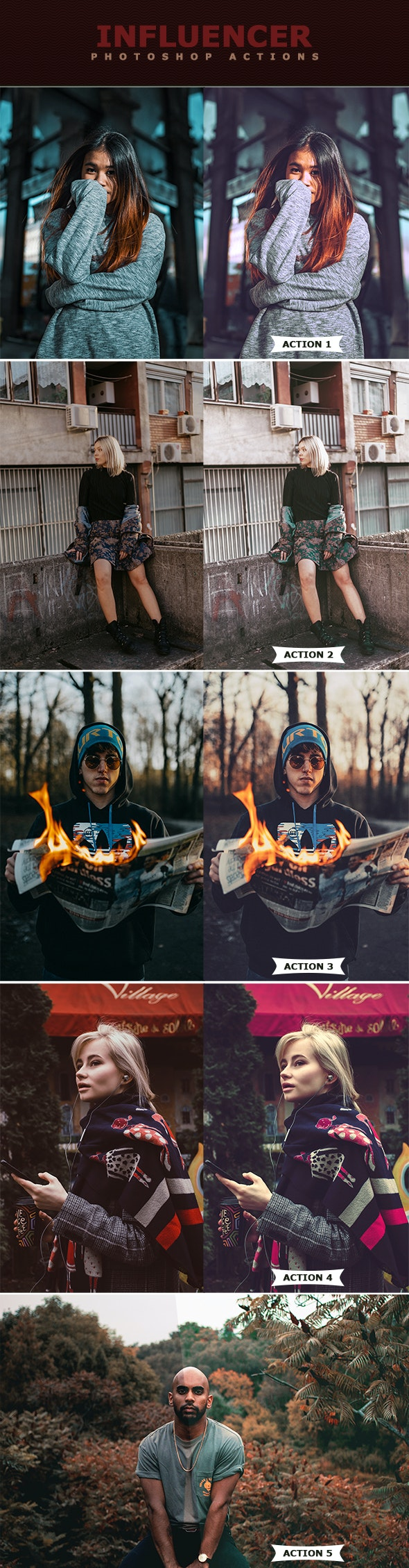 Influencer Photoshop Actionss - Photo Effects Actions