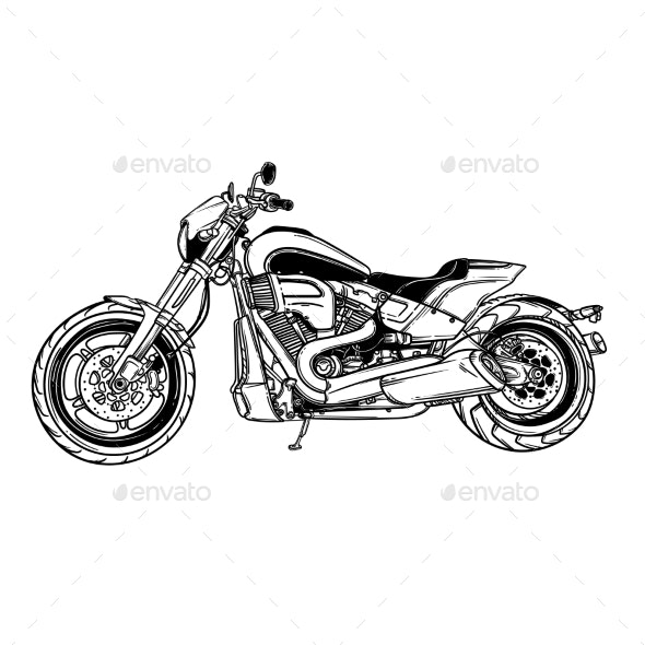Vector Isolated Motorcycle Icon - Man-made Objects Objects