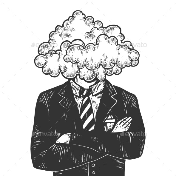 Cloud Head Businessman Sketch Engraving Vector - People Characters