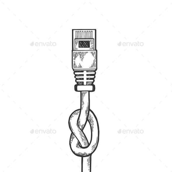 Knotted Internet Cable Sketch Engraving Vector - Miscellaneous Vectors