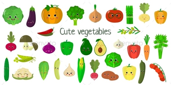 Kawaii Cute Vegetables and Herbs - Food Objects