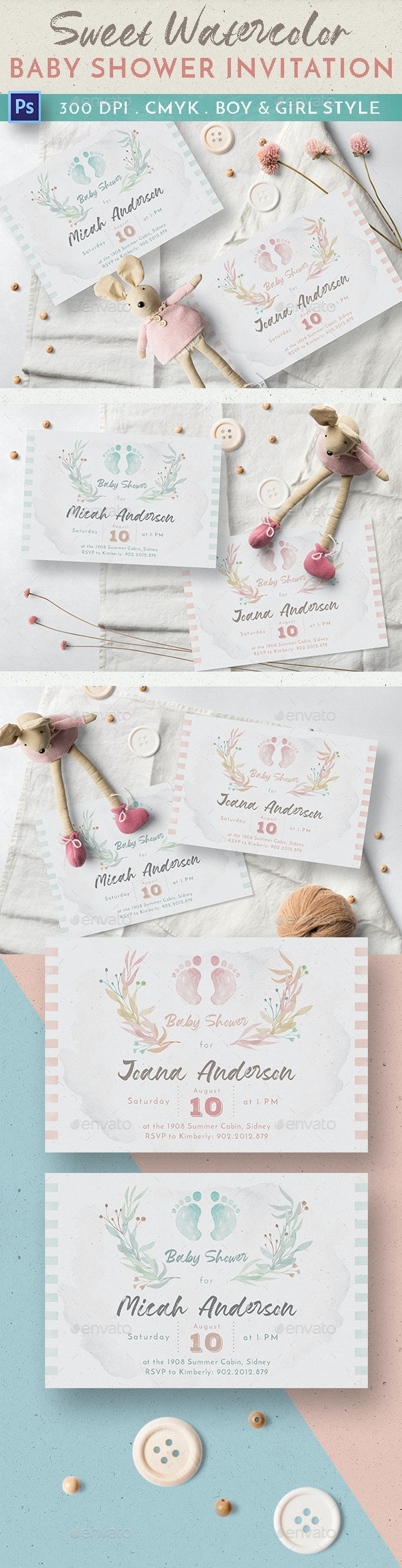 Sweet Watercolor Baby Shower Invitation - Invitations Cards & Invites