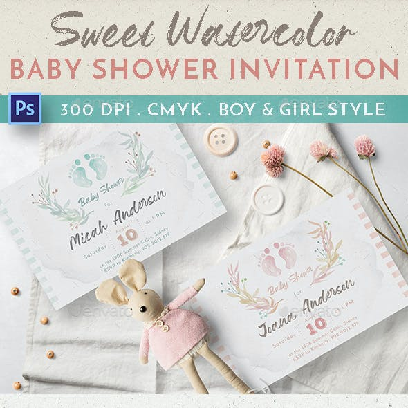 Sweet Watercolor Baby Shower Invitation