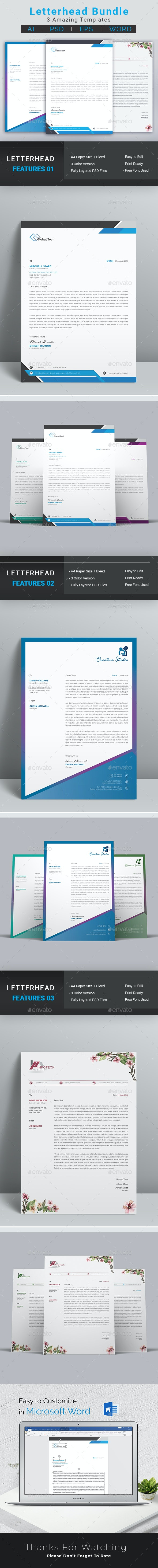 Letterhead Bundle - Stationery Print Templates