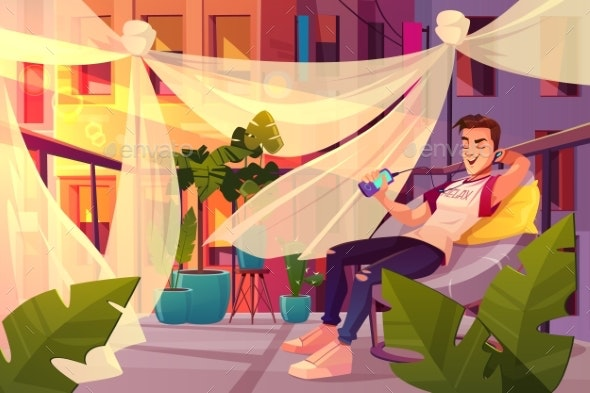 Man Relaxing on Cafe Terrace Cartoon Vector - People Characters