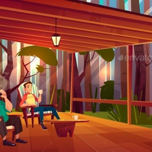 Family Relaxing on Home Veranda Cartoon Vector