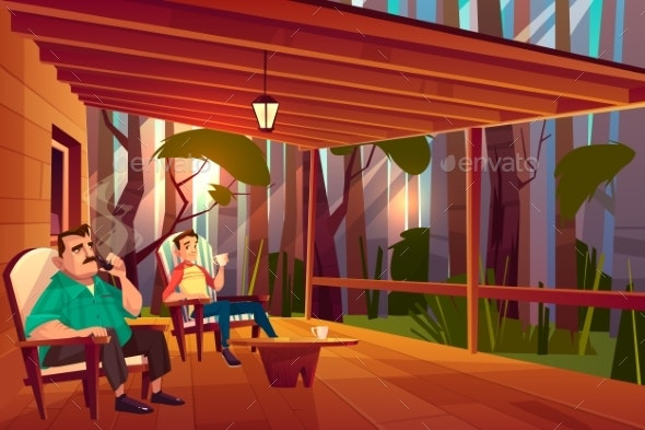 Family Relaxing on Home Veranda Cartoon Vector - People Characters