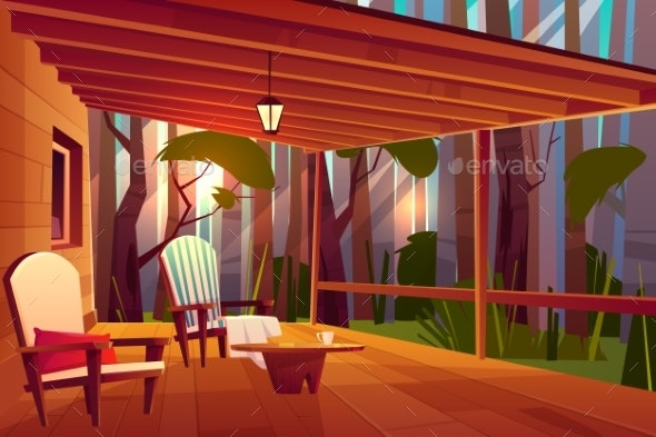 Comfortable Country House Veranda Cartoon Vector - Buildings Objects