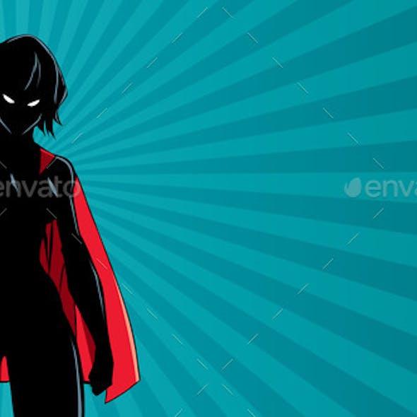 Superheroine Battle Mode Horizontal Silhouette