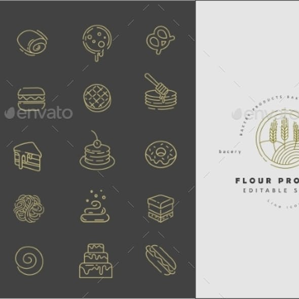 Vector Icon and Logo for Natural Flour Product