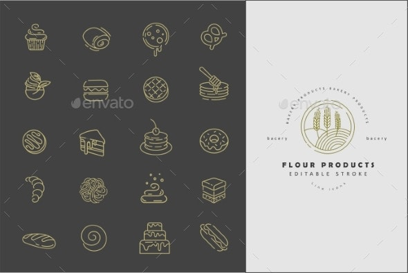 Vector Icon and Logo for Natural Flour Product - Miscellaneous Vectors