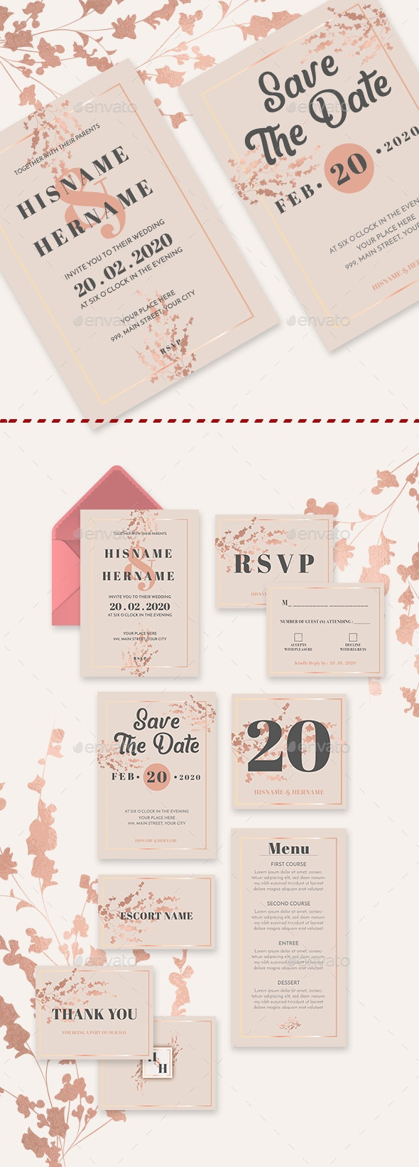Romantic Blush Wedding Invitation Suite - Weddings Cards & Invites