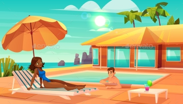 Vacation Leisure on Tropical Resort Cartoon Vector - People Characters