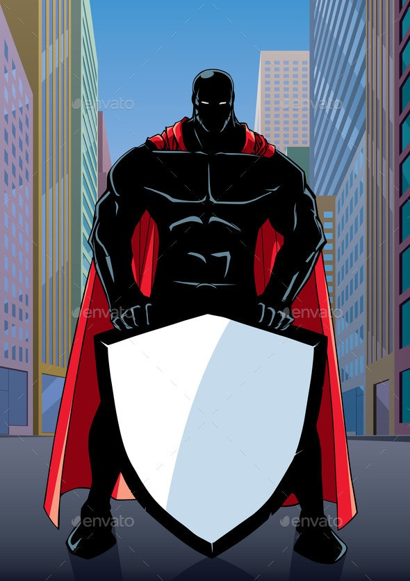 Superhero Holding Shield on Street Silhouette - People Characters