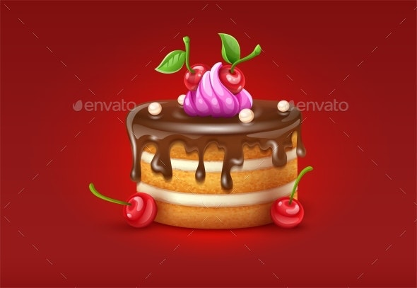 Birthday Cake with Chocolate Creme and Cherries Vector - Food Objects