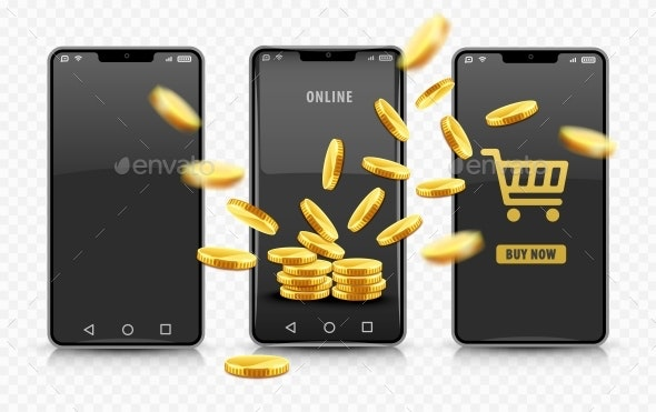 Smartphone Online Shopping with Gold Coins - Computers Technology