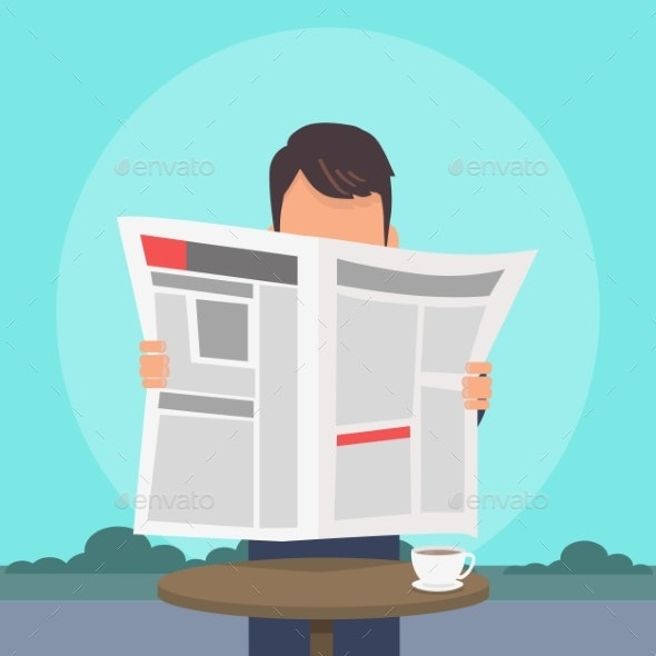 Man Reading Newspaper Flat Vector Concept - People Characters