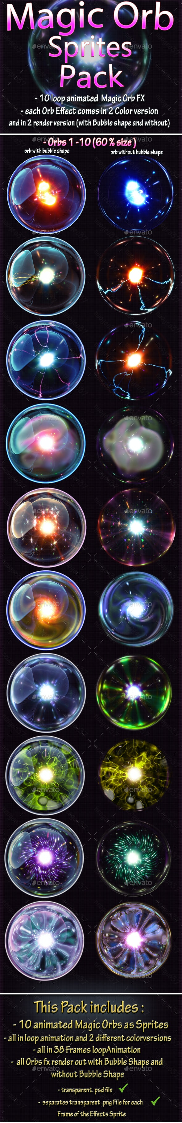Magic Particle Orb Sprites - Sprites Game Assets