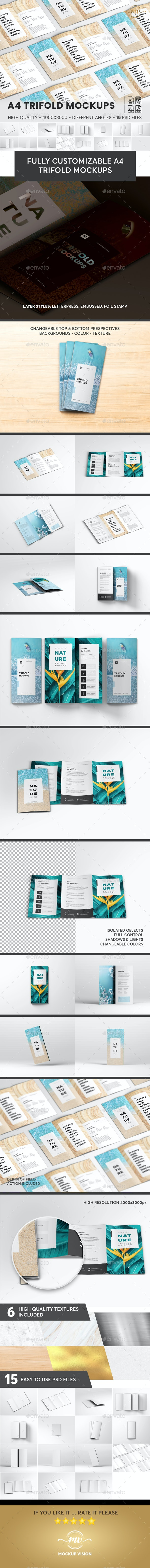 A4 Trifold Brochure Mockup V3 - Brochures Print