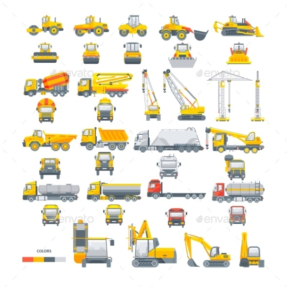 Set Vector Machinery Asphalt Machine - Man-made Objects Objects