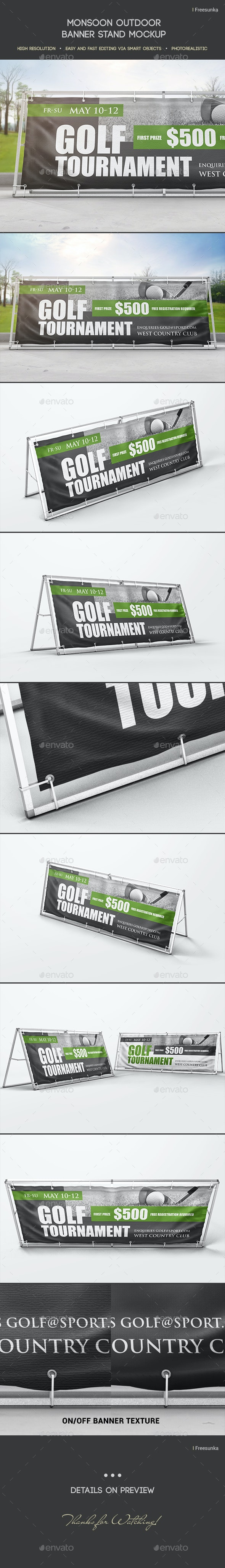 Monsoon Outdoor Banner Stand Mockup - Miscellaneous Print
