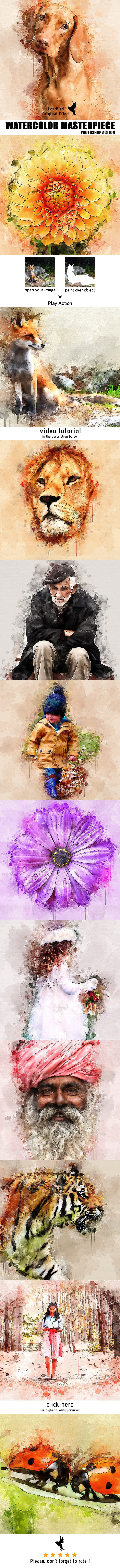 Watercolor Masterpiece - Photoshop Action - Photo Effects Actions