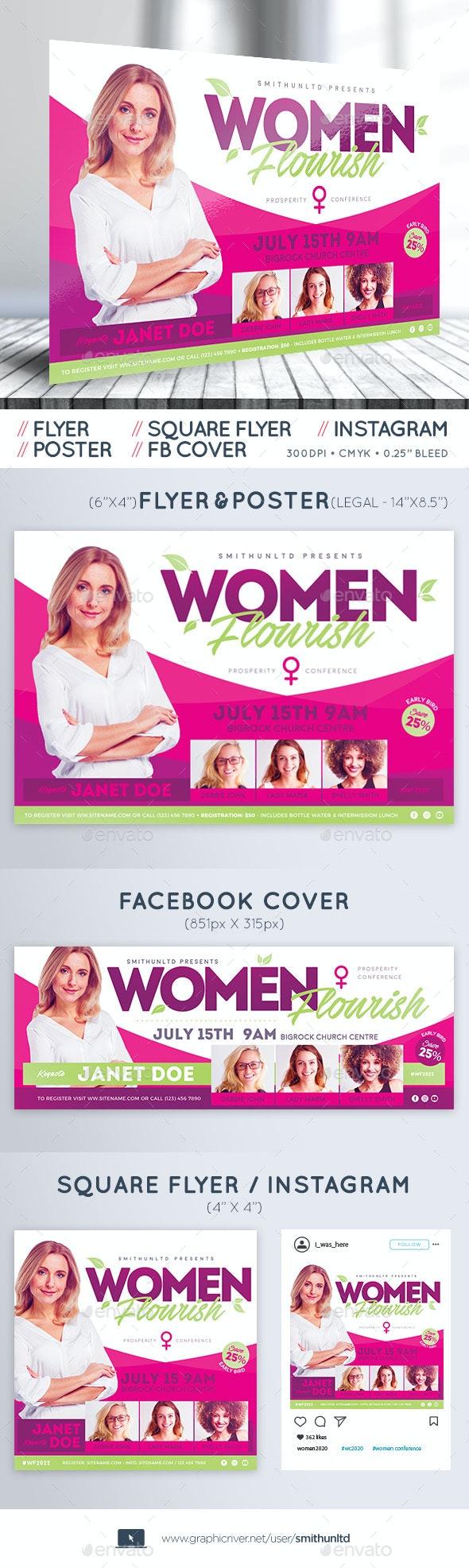 Women Conference Flyer - Flourish - Complete Set - Miscellaneous Events