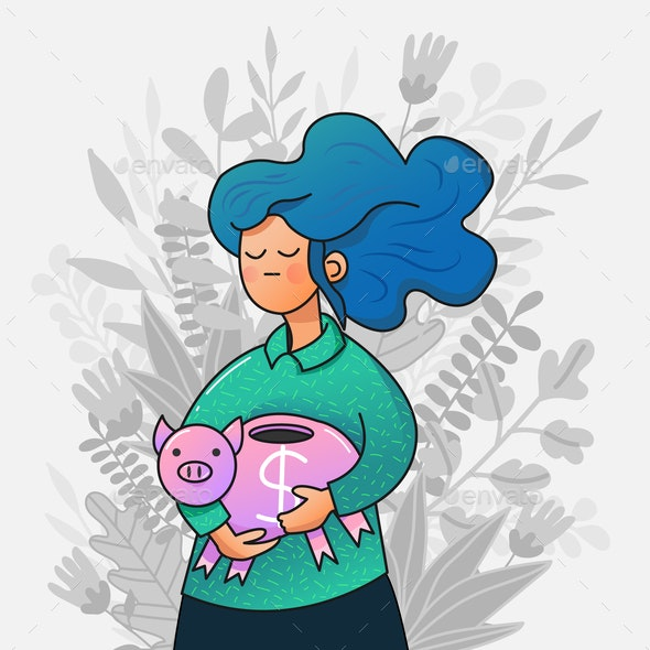 Vector Girl Holding a Piggy Bank - People Characters