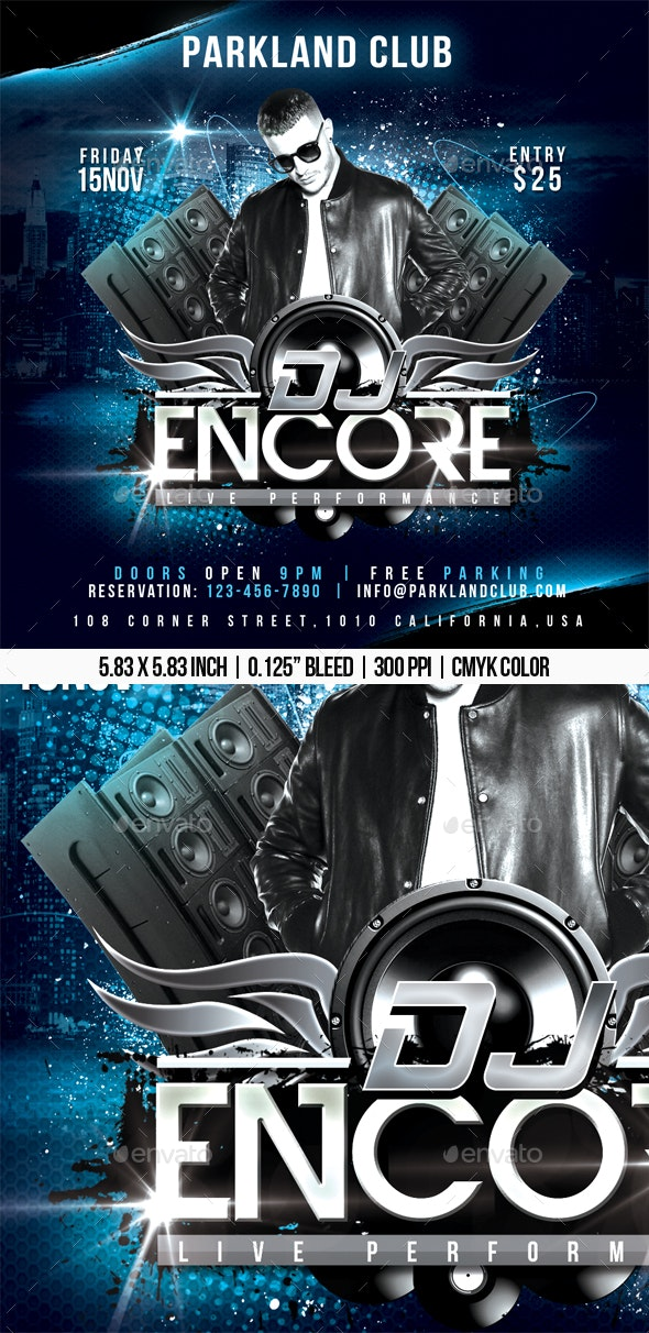 Dj Live Performance Flyer - Clubs & Parties Events