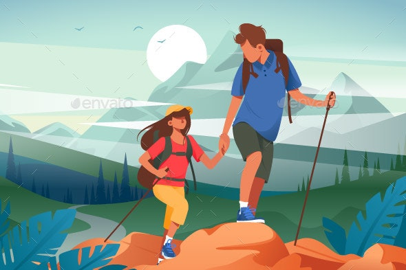 Flat Young Woman and Man Couple Hiking - Sports/Activity Conceptual