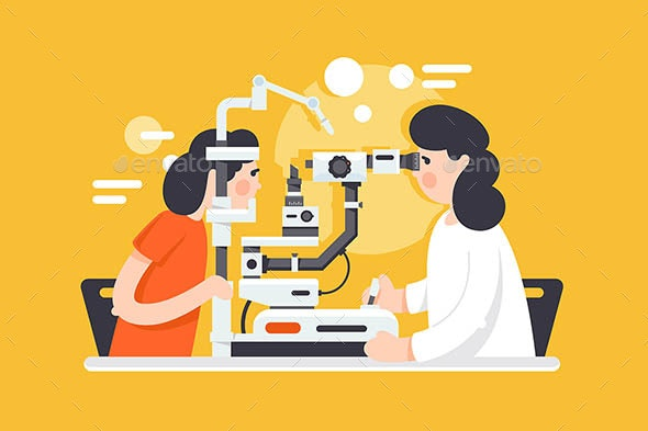 Flat Young Woman with Optometrist Doctor - Health/Medicine Conceptual