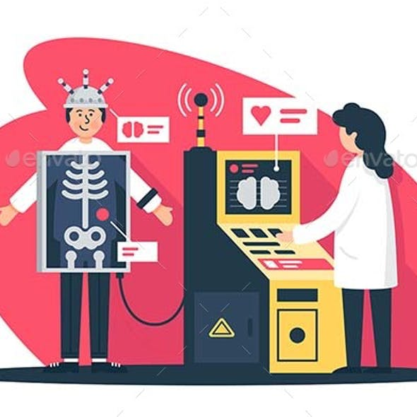 Flat Young Man with Radiologist Doctor with X-Ray