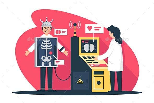 Flat Young Man with Radiologist Doctor with X-Ray - Health/Medicine Conceptual