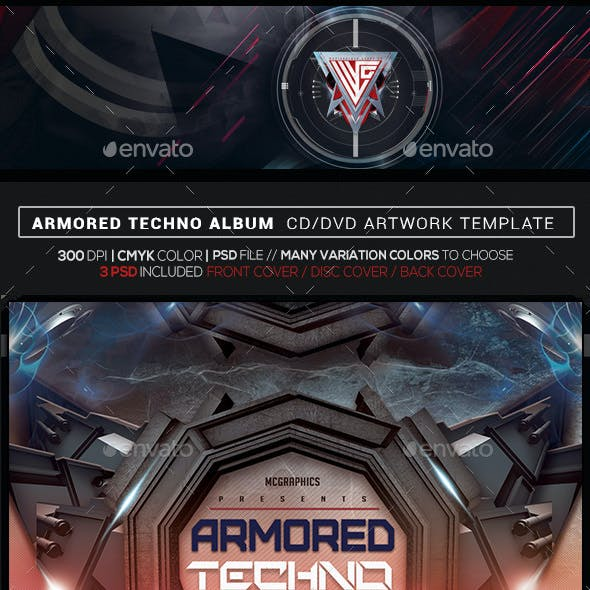 Armored Techno Photoshop CD/DVD Template