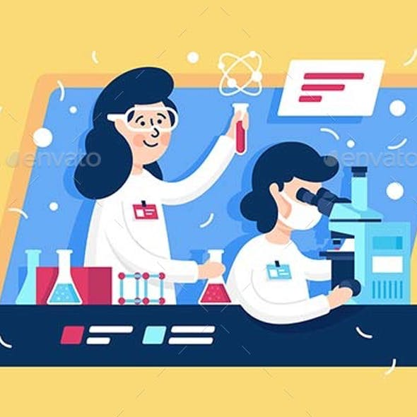 Flat Young Beauty Woman with Microscope and Liquid