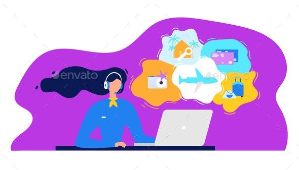 Travel Agency Call Center Flat Vector Concept - Travel Conceptual