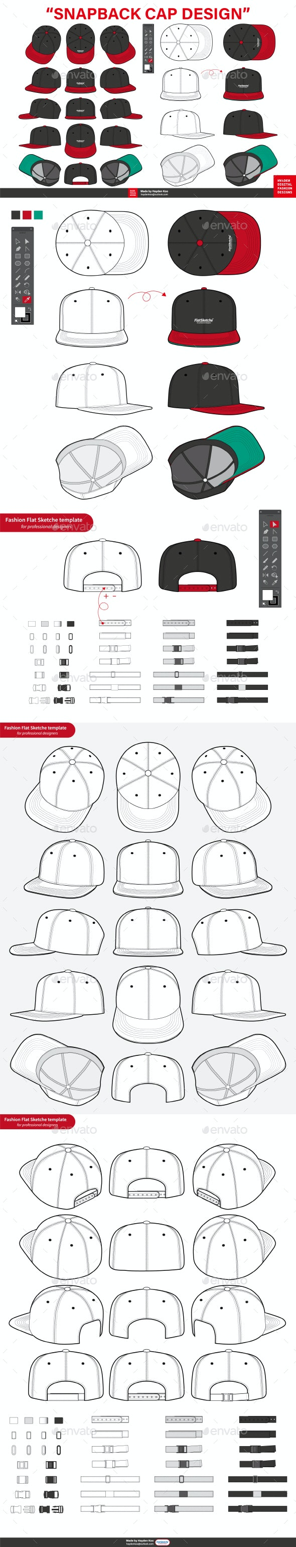 SNAPBACK CAP Fashion Flat Templates - Man-made Objects Objects