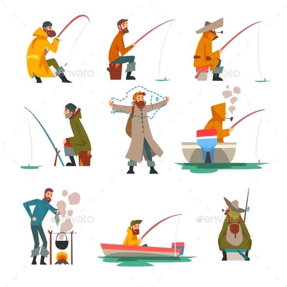 Fisherman Fishing with Fishing Rod and Cooking - Sports/Activity Conceptual