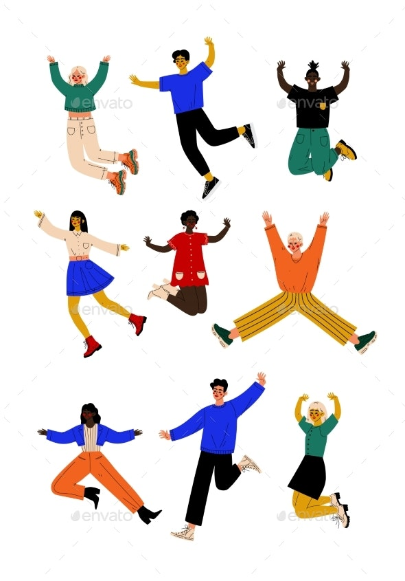 Happy People of Different Nationalities Jumping - People Characters