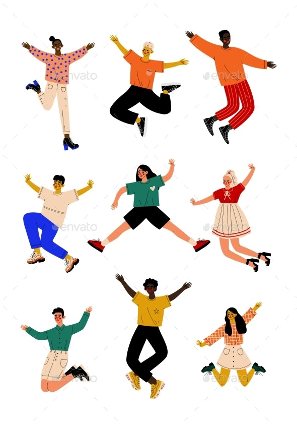 Happy People Jumping - People Characters
